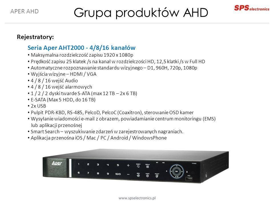 APER AHD Grupa produktów AHD Rejestratory: Seria Aper AHT2000 - 4/8/16 kanałów Maksymalna rozdzielczość zapisu 1920 x 1080p Prędkość zapisu 25 klatek /s na kanał w rozdzielczości HD, 12,5 klatki /s w Full HD Automatyczne rozpoznawanie standardu wizyjnego – D1, 960H, 720p, 1080p Wyjścia wizyjne – HDMI / VGA 4 / 8 / 16 wejść Audio 4 / 8 / 16 wejść alarmowych 1 / 2 / 2 dyski twarde S-ATA (max 12 TB – 2x 6 TB) E-SATA (Max 5 HDD, do 16 TB) 2x USB Pulpit PDR-KBD, RS-485, PelcoD, PelcoC (Coaxitron), sterowanie OSD kamer Wysyłanie wiadomości e-mail z obrazem, powiadamianie centrum monitoringu (EMS) lub aplikacji przenośnej Smart Search – wyszukiwanie zdarzeń w zarejestrowanych nagraniach.