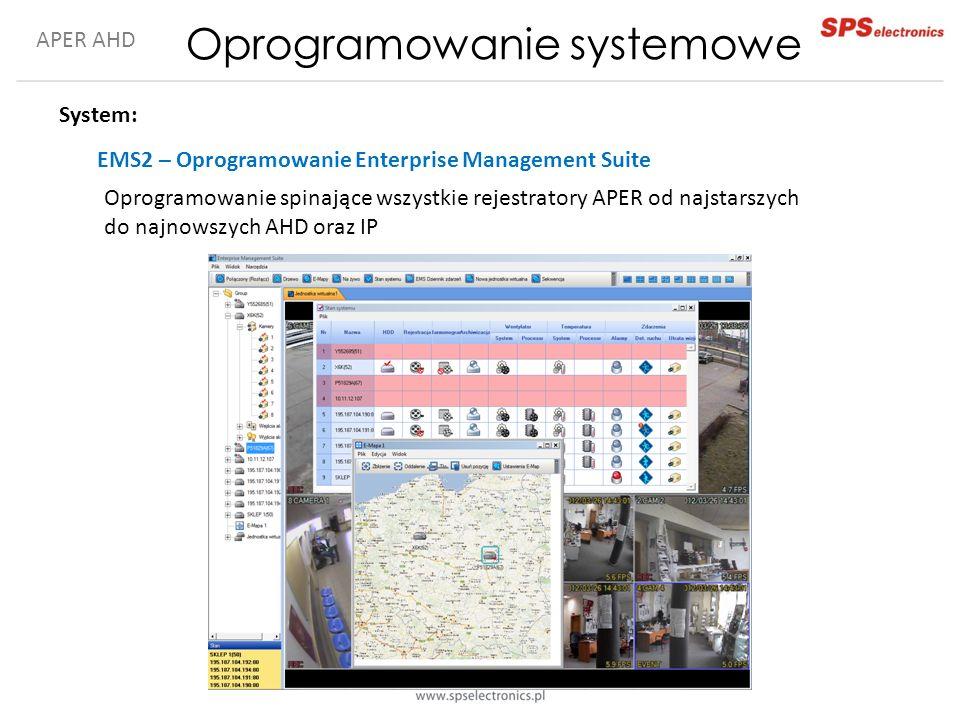 APER AHD Oprogramowanie systemowe System: EMS2 – Oprogramowanie Enterprise Management Suite Oprogramowanie spinające wszystkie rejestratory APER od najstarszych do najnowszych AHD oraz IP