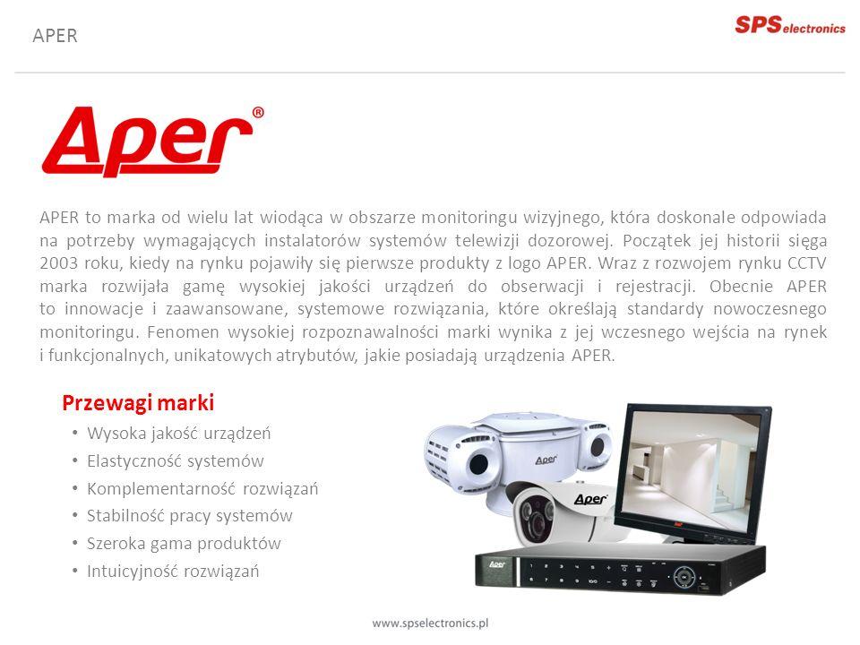 APER APER to marka od wielu lat wiodąca w obszarze monitoringu wizyjnego, która doskonale odpowiada na potrzeby wymagających instalatorów systemów telewizji dozorowej.