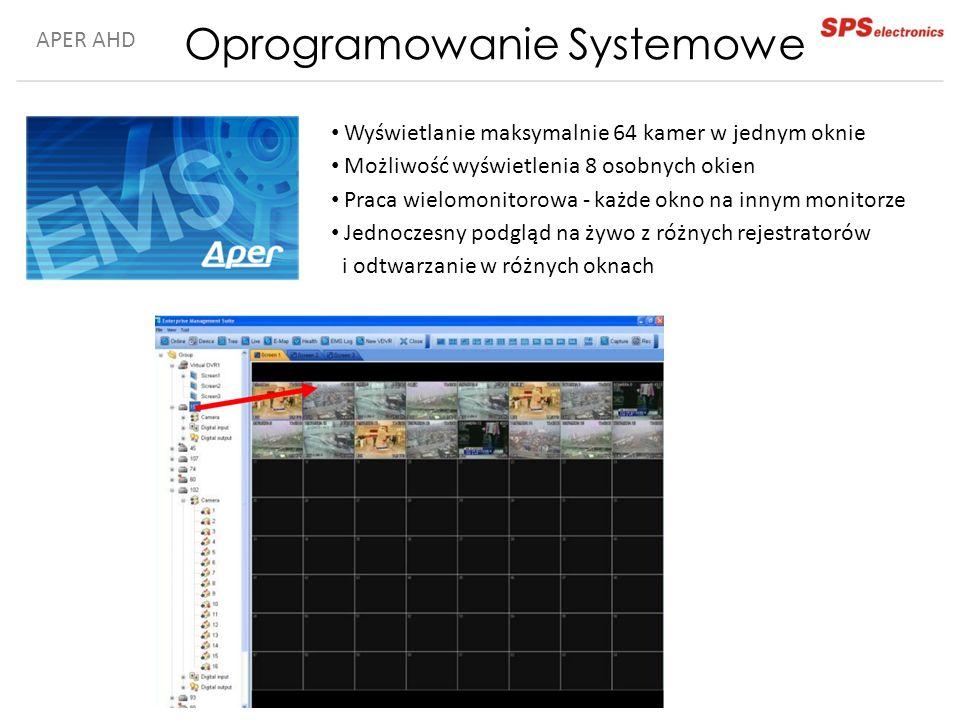APER AHD Oprogramowanie Systemowe Wyświetlanie maksymalnie 64 kamer w jednym oknie Możliwość wyświetlenia 8 osobnych okien Praca wielomonitorowa - każde okno na innym monitorze Jednoczesny podgląd na żywo z różnych rejestratorów i odtwarzanie w różnych oknach