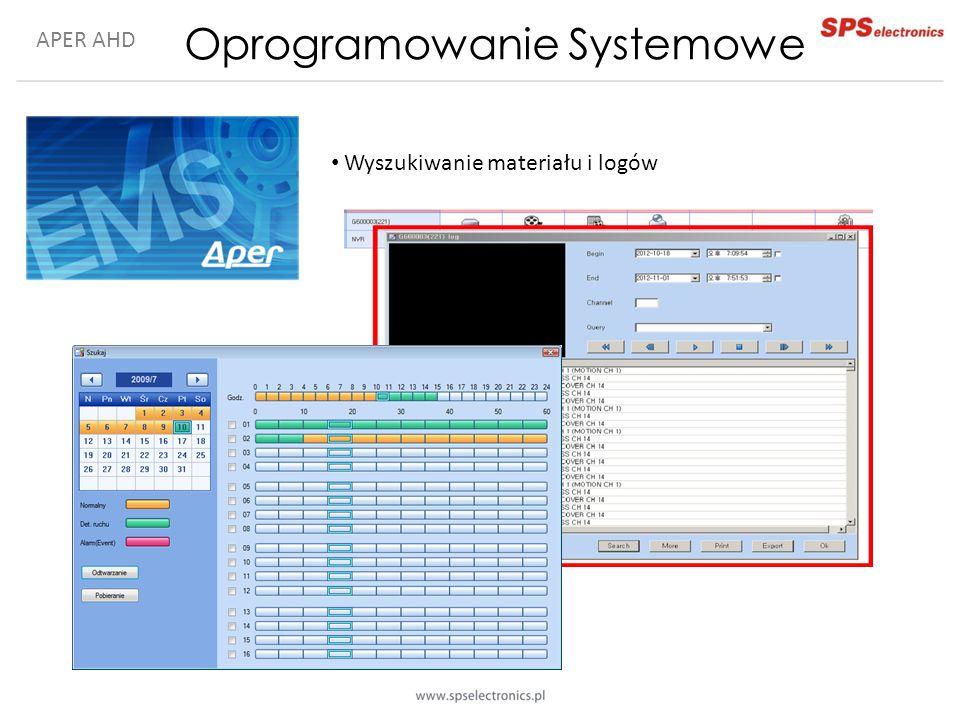 APER AHD Oprogramowanie Systemowe Wyszukiwanie materiału i logów
