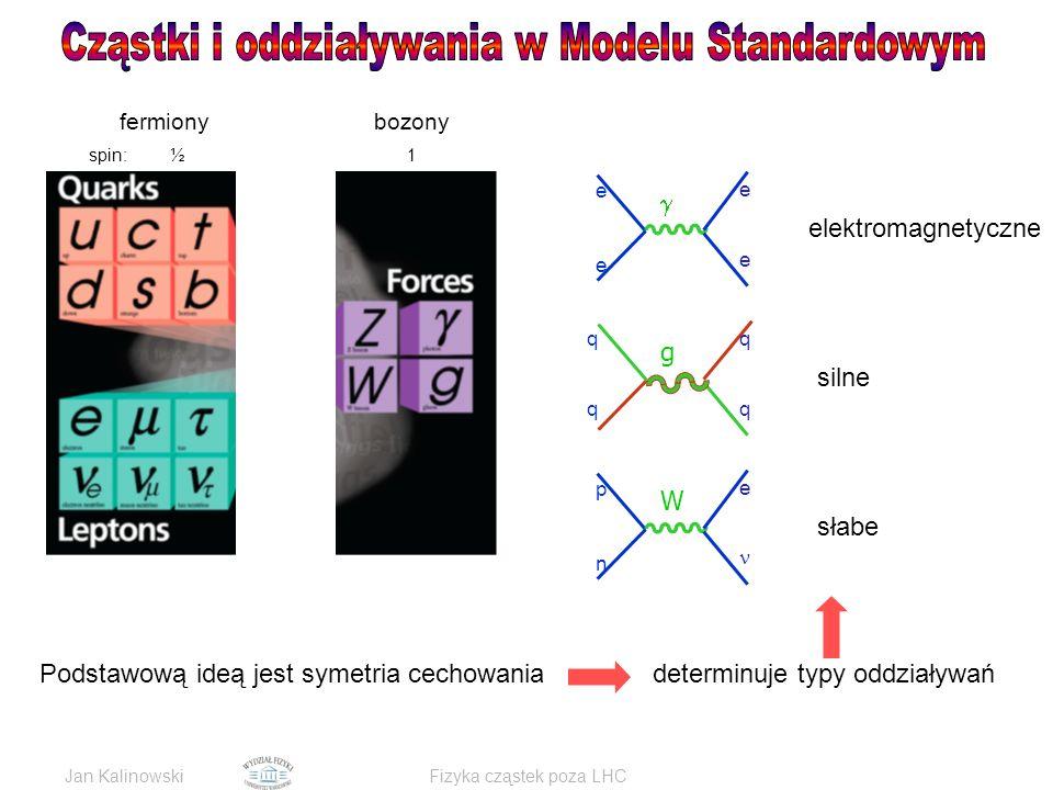 Jan KalinowskiFizyka cząstek poza LHC q g q q q W p n e e  e e e elektromagnetyczne silne słabe Podstawową ideą jest symetria cechowania fermiony bozony spin: ½ 0 1 determinuje typy oddziaływań