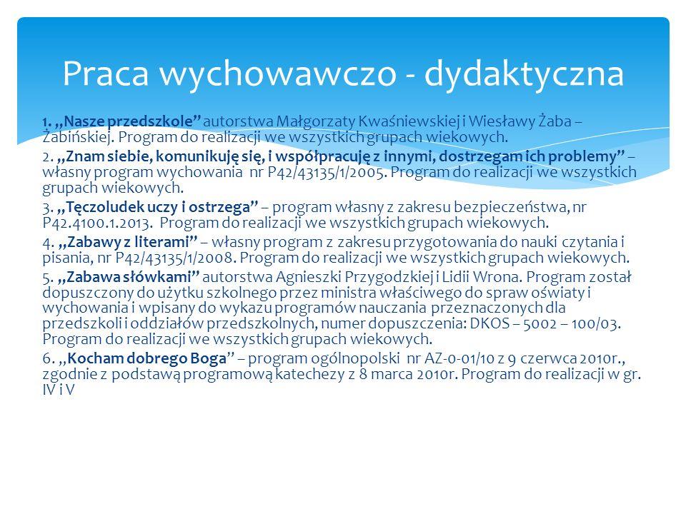 """1. """"Nasze przedszkole"""" autorstwa Małgorzaty Kwaśniewskiej i Wiesławy Żaba – Żabińskiej. Program do realizacji we wszystkich grupach wiekowych. 2. """"Zna"""