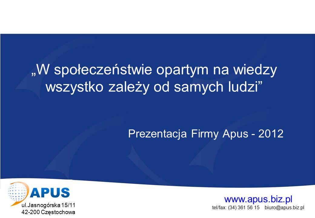 """www.apus.biz.pl tel/fax: (34) 361 56 15 biuro@apus.biz.pl ul.Jasnogórska 15/11 42-200 Częstochowa Projekt współfinansowany przez Unię Europejską w ramach Europejskiego Funduszu Społecznego APUS PORADNICTWO ZAWODOWE I PSYCHOLOGICZNE SZKOLENIAPROJEKTY UNIJNE """"W społeczeństwie opartym na wiedzy wszystko zależy od samych ludzi"""