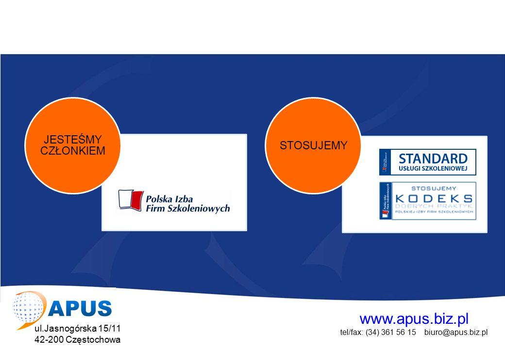 www.apus.biz.pl tel/fax: (34) 361 56 15 biuro@apus.biz.pl ul.Jasnogórska 15/11 42-200 Częstochowa Projekt współfinansowany przez Unię Europejską w ramach Europejskiego Funduszu Społecznego AGENCJA PORADNICTWA ZAWODOWEO Zatrudnia kadrę doświadczonych psychologów i doradców zawodowych Udziela wsparcia z zakresu indywidualnego i grupowego poradnictwa zawodowego i psychologicznego Dysponuje bogatą bazą testów psychologicznych jak i zakresu doradztwa zawodowego.