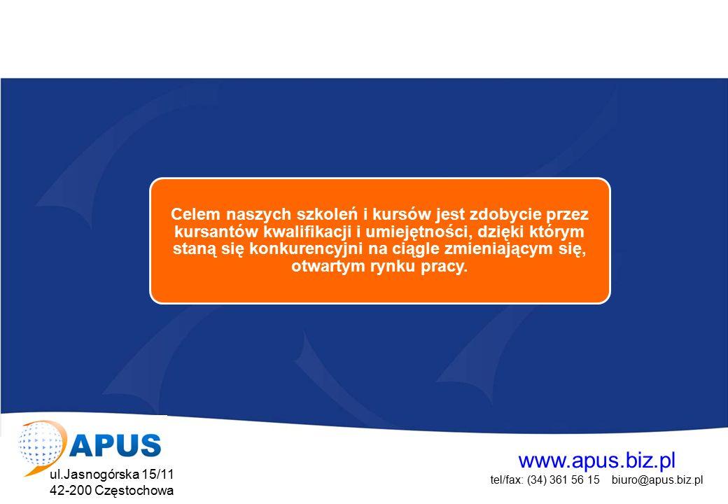 www.apus.biz.pl tel/fax: (34) 361 56 15 biuro@apus.biz.pl ul.Jasnogórska 15/11 42-200 Częstochowa Projekt współfinansowany przez Unię Europejską w ramach Europejskiego Funduszu Społecznego Kształcenie i doskonalenie zawodowe Kursy i szkolenia przygotowujące do określonego zawodu Kursy i szkolenia doskonalące umiejętności zawodowe Warsztaty i szkolenia stacjonarne i wyjazdowe Pełna oferta szkoleniowa