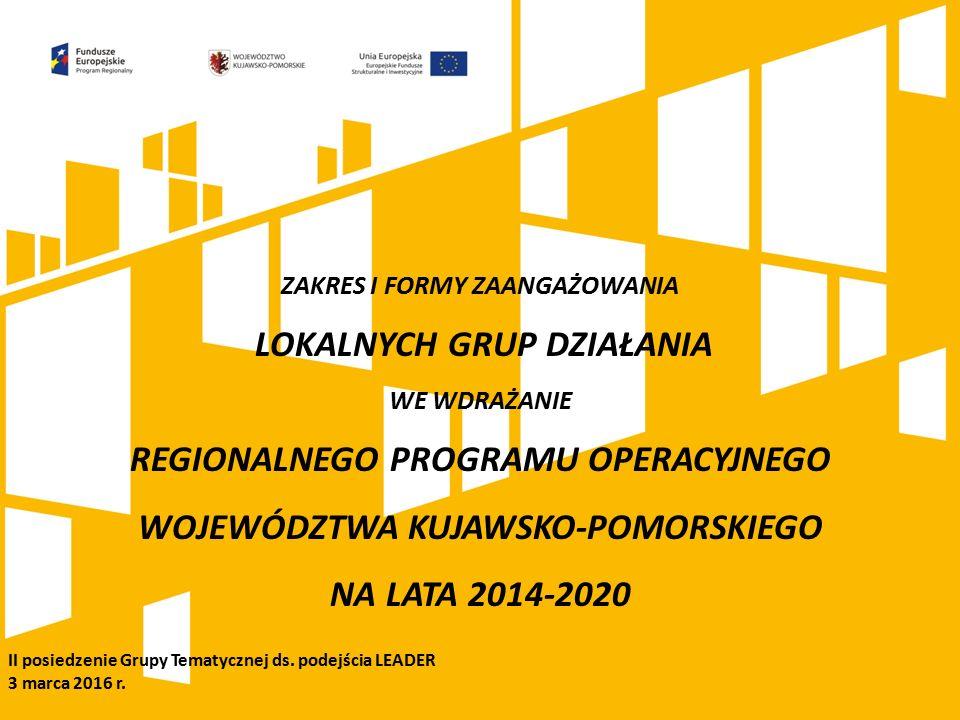ZAKRES I FORMY ZAANGAŻOWANIA LOKALNYCH GRUP DZIAŁANIA WE WDRAŻANIE REGIONALNEGO PROGRAMU OPERACYJNEGO WOJEWÓDZTWA KUJAWSKO-POMORSKIEGO NA LATA 2014-2020 II posiedzenie Grupy Tematycznej ds.