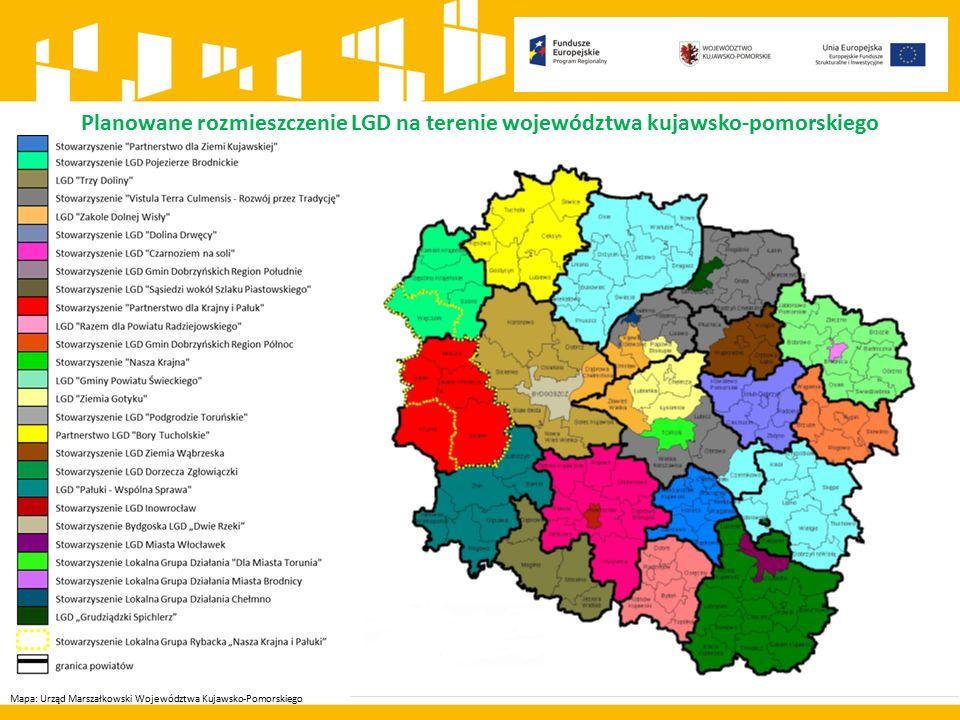 Mapa: Urząd Marszałkowski Województwa Kujawsko-Pomorskiego Planowane rozmieszczenie LGD na terenie województwa kujawsko-pomorskiego