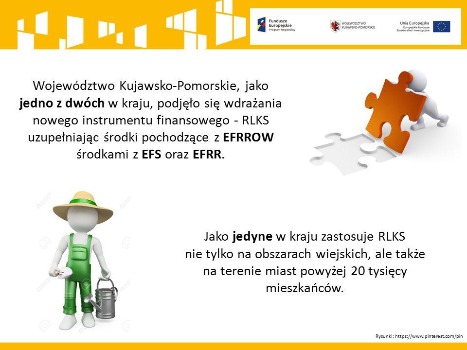 Rysunek: https://www.pinterest.com/pin Z funduszu EFS ponad 36 mln euro z czego na realizację LSR w miastach powyżej 20 tysięcy mieszkańców blisko 8,2 mln euro Z funduszu EFRR prawie 40 mln euro W ramach RPO WK-P na lata 2014-2020 na RLKS przeznaczono