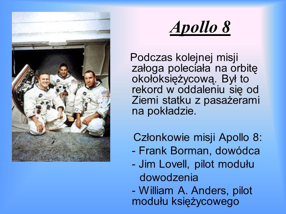 Apollo 8 Podczas kolejnej misji załoga poleciała na orbitę okołoksiężycową.