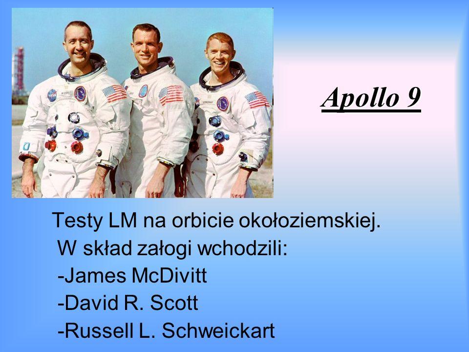 Apollo 9 Testy LM na orbicie okołoziemskiej. W skład załogi wchodzili: -James McDivitt -David R.