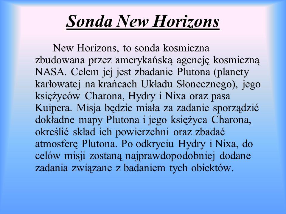 Sonda New Horizons New Horizons, to sonda kosmiczna zbudowana przez amerykańską agencję kosmiczną NASA.