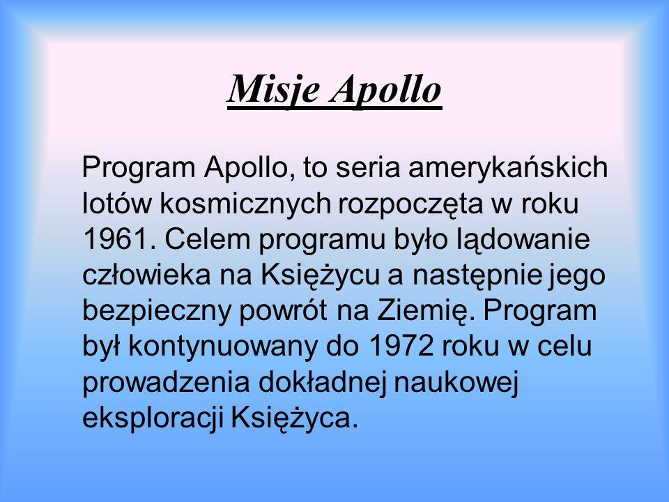 Misje Apollo Program Apollo, to seria amerykańskich lotów kosmicznych rozpoczęta w roku 1961.