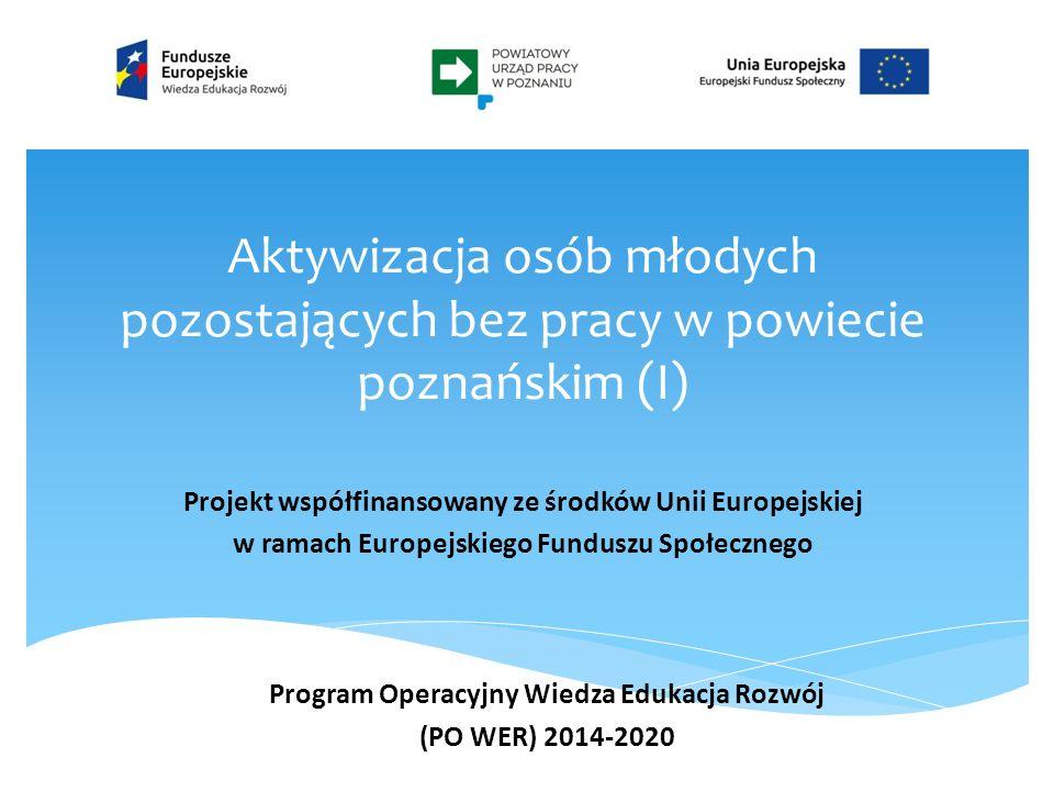 Aktywizacja osób młodych pozostających bez pracy w powiecie poznańskim (I) Projekt współfinansowany ze środków Unii Europejskiej w ramach Europejskiego Funduszu Społecznego Program Operacyjny Wiedza Edukacja Rozwój (PO WER) 2014-2020
