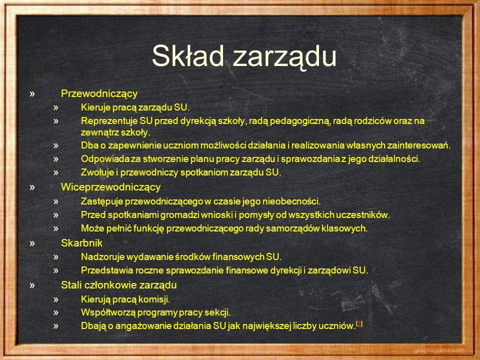 Skład zarządu » Przewodniczący » Kieruje pracą zarządu SU. » Reprezentuje SU przed dyrekcją szkoły, radą pedagogiczną, radą rodziców oraz na zewnątrz