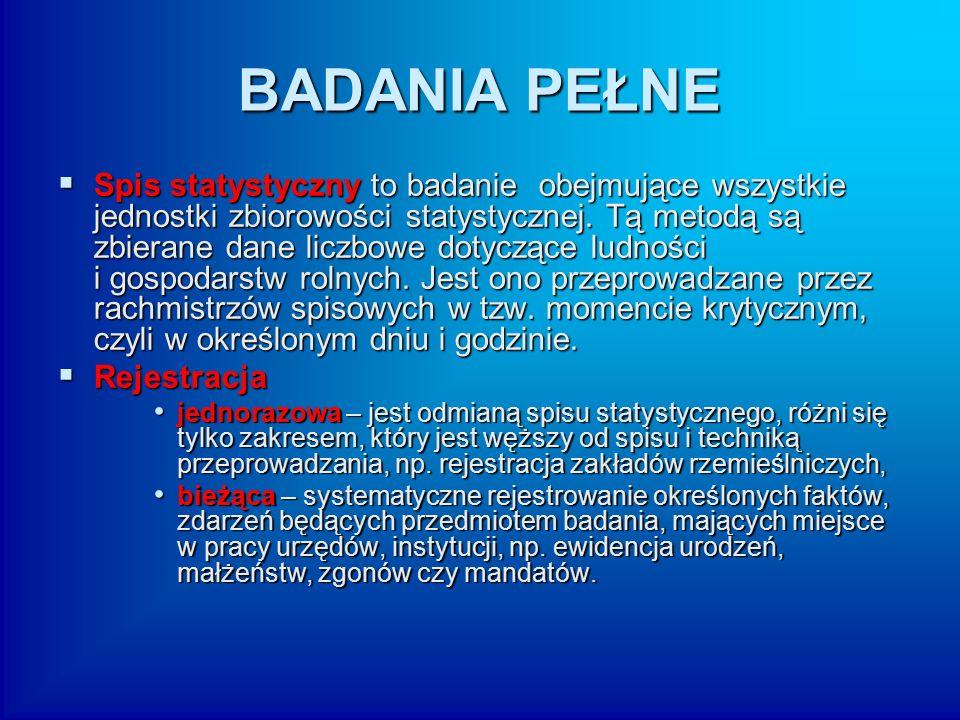 BADANIA CZĘŚCIOWE  ankietowe – ankieta jest metodą badania sądów i opinii osób, do których jest kierowana, na temat określonego zjawiska.