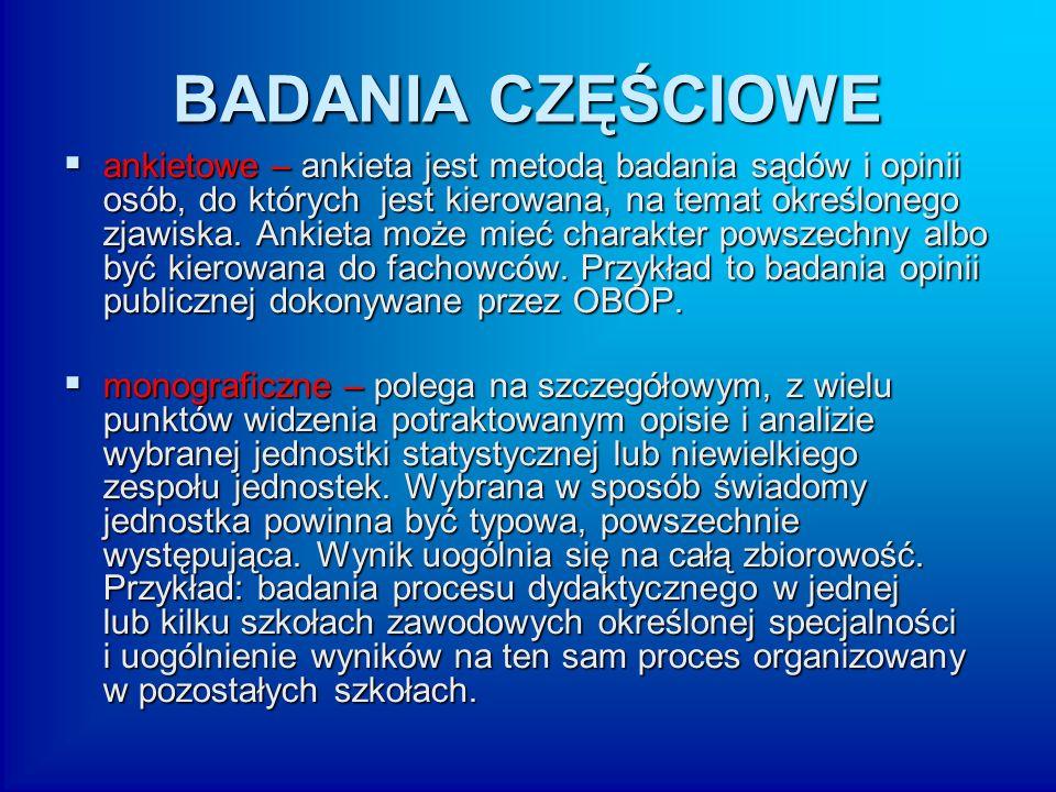 BADANIA CZĘŚCIOWE  ankietowe – ankieta jest metodą badania sądów i opinii osób, do których jest kierowana, na temat określonego zjawiska. Ankieta moż