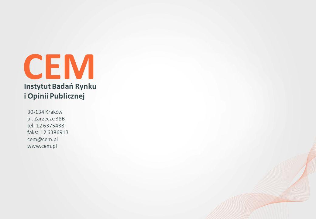 Instytut Badań Rynku i Opinii Publicznej 30-134 Kraków ul. Zarzecze 38B tel: 12 6375438 faks: 12 6386913 cem@cem.pl www.cem.pl CEM