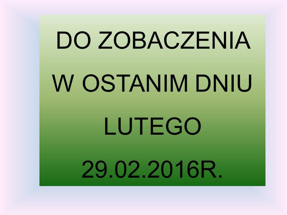 DO ZOBACZENIA W OSTANIM DNIU LUTEGO 29.02.2016R.