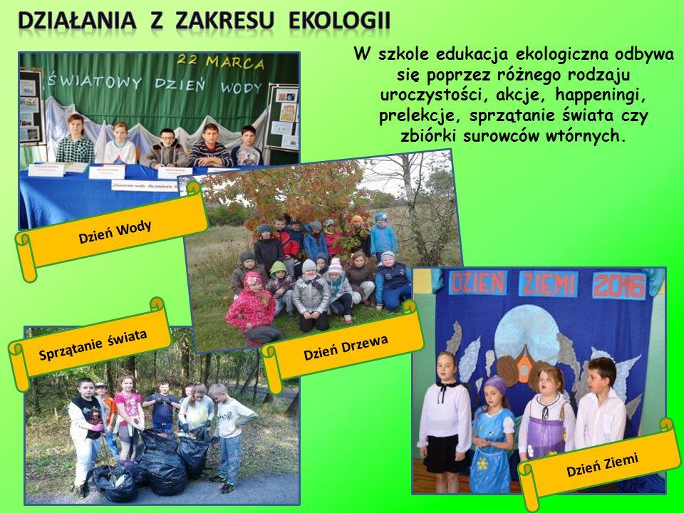 W szkole edukacja ekologiczna odbywa się poprzez różnego rodzaju uroczystości, akcje, happeningi, prelekcje, sprzątanie świata czy zbiórki surowców wtórnych.