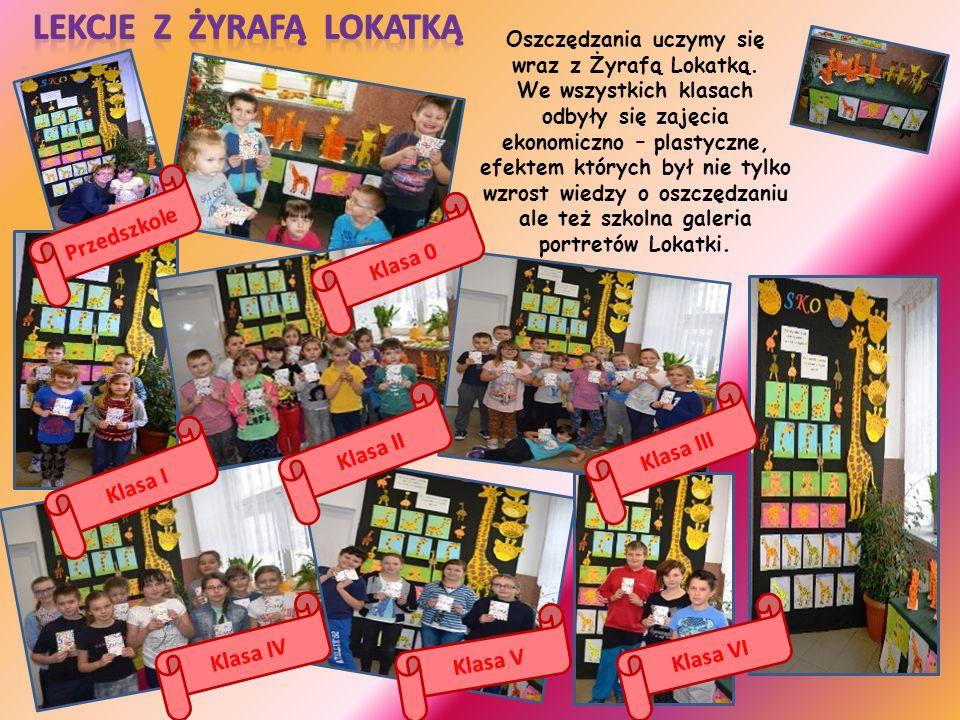 Oszczędzania uczymy się wraz z Żyrafą Lokatką. We wszystkich klasach odbyły się zajęcia ekonomiczno – plastyczne, efektem których był nie tylko wzrost