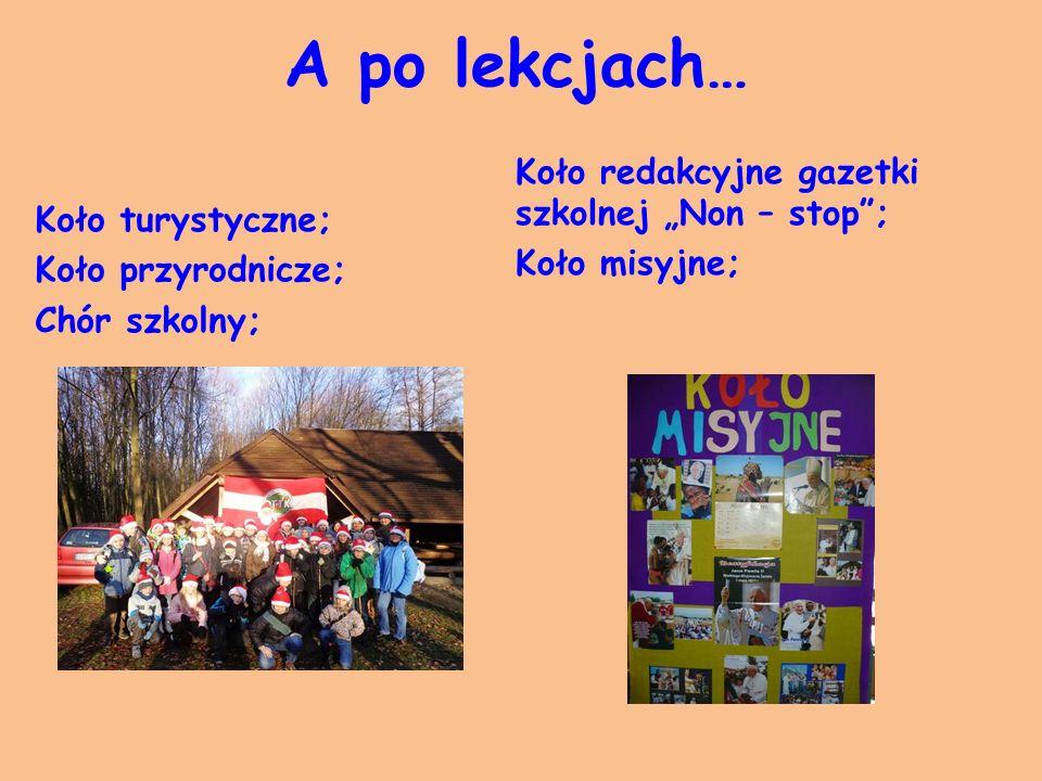 """A po lekcjach… Koło turystyczne; Koło przyrodnicze; Chór szkolny; Koło redakcyjne gazetki szkolnej """"Non – stop ; Koło misyjne;"""