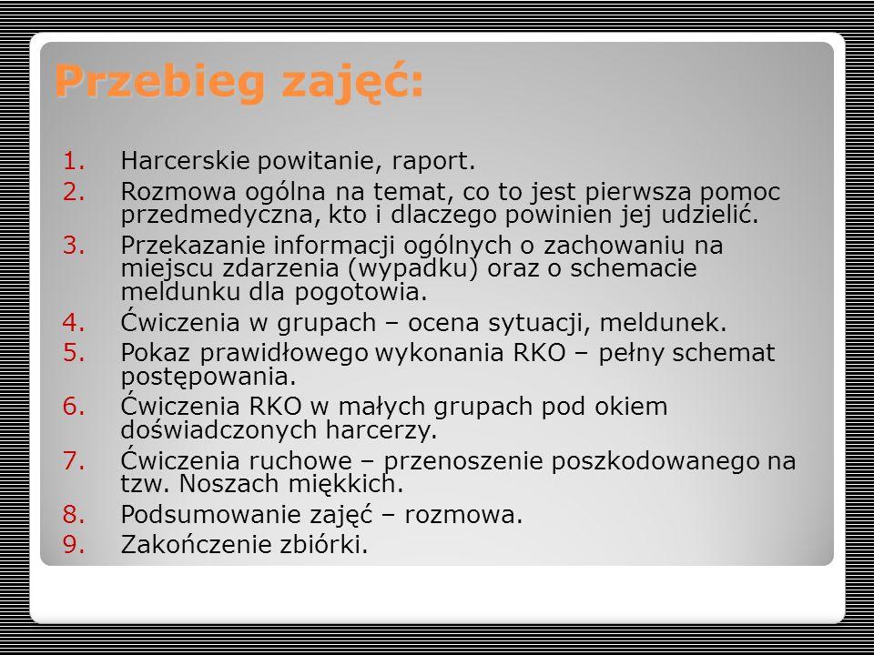 Przebieg zajęć: 1.Harcerskie powitanie, raport.
