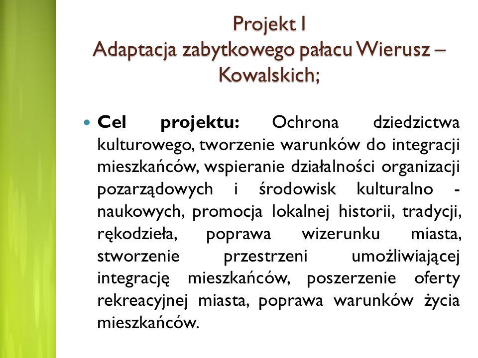 Projekt I Adaptacja zabytkowego pałacu Wierusz – Kowalskich; Cel projektu: Ochrona dziedzictwa kulturowego, tworzenie warunków do integracji mieszkańc