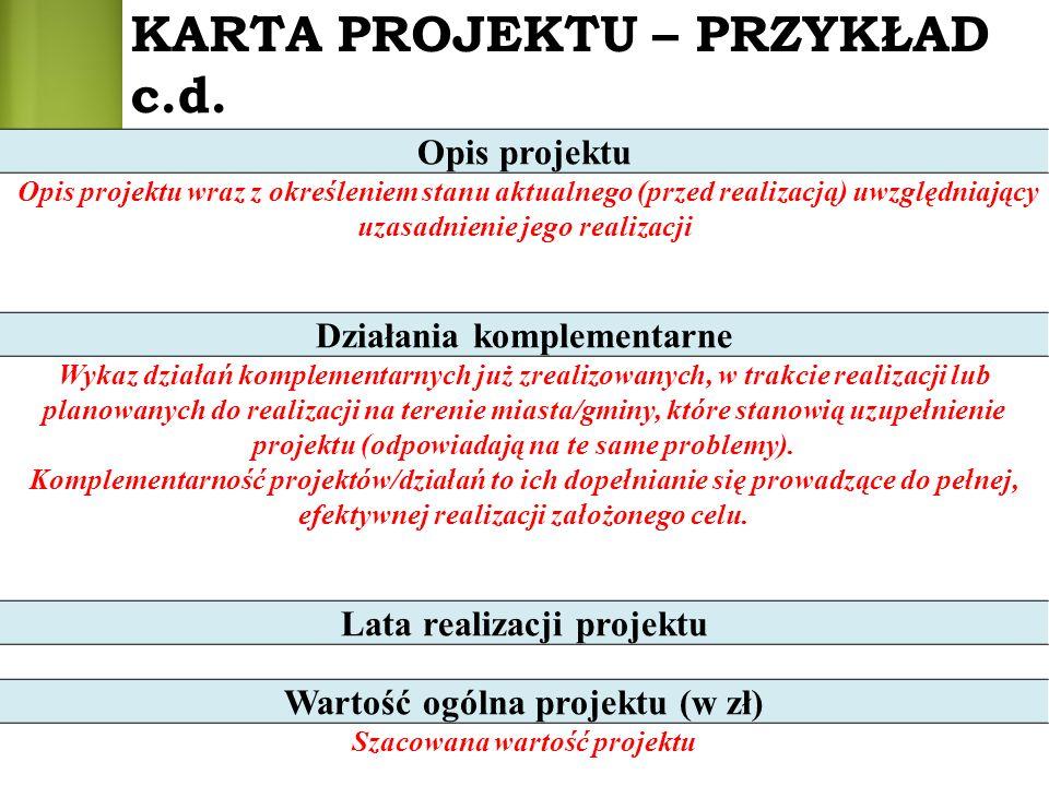 Opis projektu Opis projektu wraz z określeniem stanu aktualnego (przed realizacją) uwzględniający uzasadnienie jego realizacji Działania komplementarn