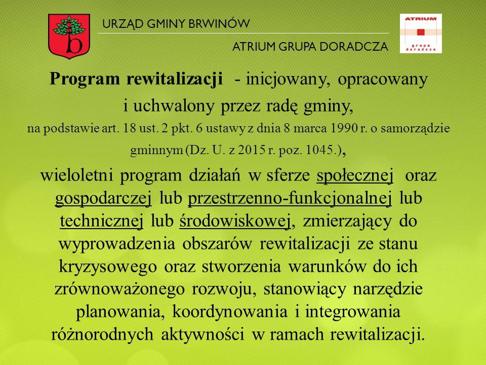 Program rewitalizacji - inicjowany, opracowany i uchwalony przez radę gminy, na podstawie art. 18 ust. 2 pkt. 6 ustawy z dnia 8 marca 1990 r. o samorz