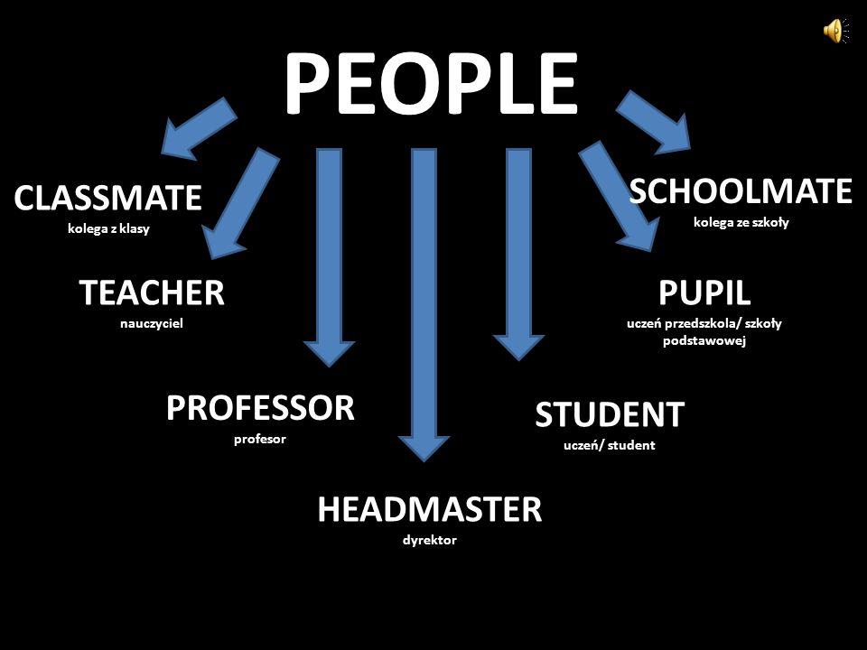 PEOPLE CLASSMATE kolega z klasy TEACHER nauczyciel PROFESSOR profesor HEADMASTER dyrektor STUDENT uczeń/ student PUPIL uczeń przedszkola/ szkoły podstawowej SCHOOLMATE kolega ze szkoły
