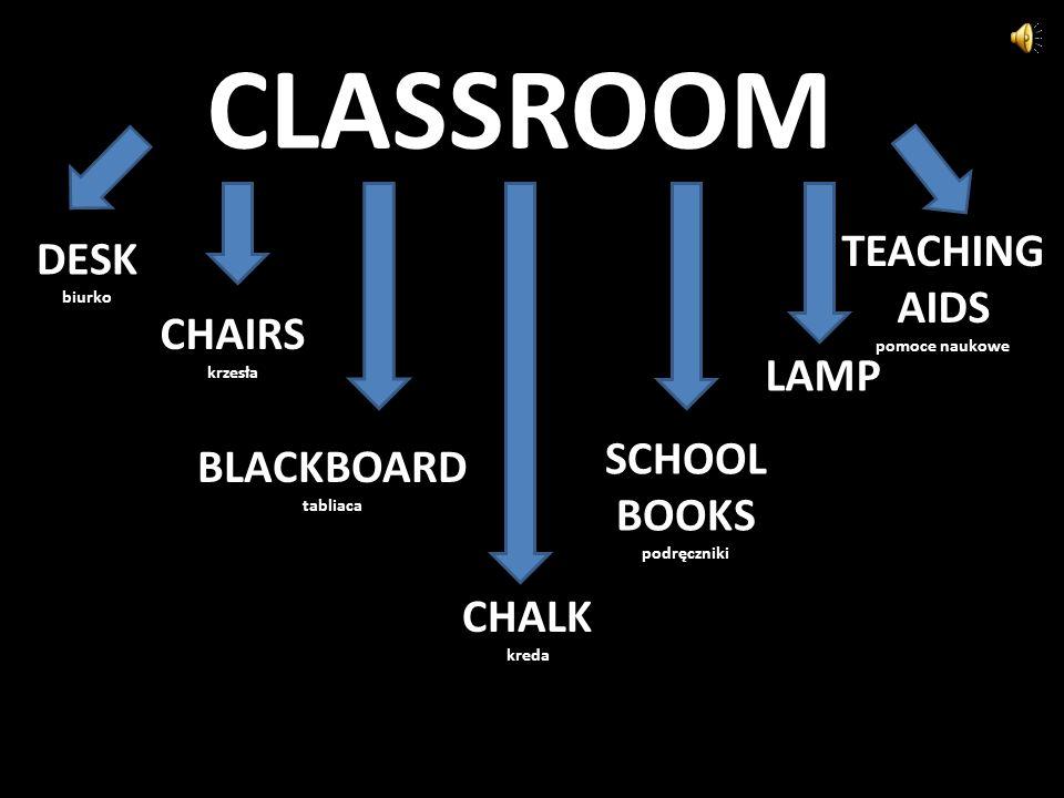 CLASSROOM DESK biurko CHAIRS krzesła BLACKBOARD tabliaca CHALK kreda SCHOOL BOOKS podręczniki LAMP TEACHING AIDS pomoce naukowe