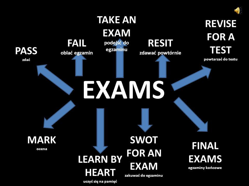 EXAMS PASS zdać FAIL oblać egzamin TAKE AN EXAM podejść do egzaminu RESIT zdawać powtórnie REVISE FOR A TEST powtarzać do testu MARK ocena LEARN BY HEART uczyć się na pamięć SWOT FOR AN EXAM zakuwać do egzaminu FINAL EXAMS egzaminy końcowe