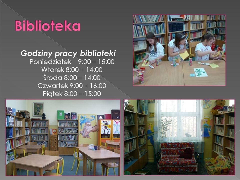 Godziny pracy biblioteki Poniedziałek 9:00 – 15:00 Wtorek 8:00 – 14:00 Środa 8:00 – 14:00 Czwartek 9:00 – 16:00 Piątek 8:00 – 15:00
