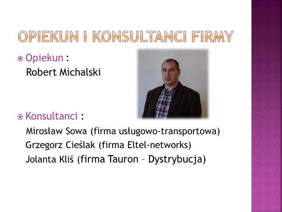  Opiekun : Robert Michalski  Konsultanci : Mirosław Sowa (firma usługowo-transportowa) Grzegorz Cieślak (firma Eltel-networks) Jolanta Kliś ( firma Tauron – Dystrybucja)