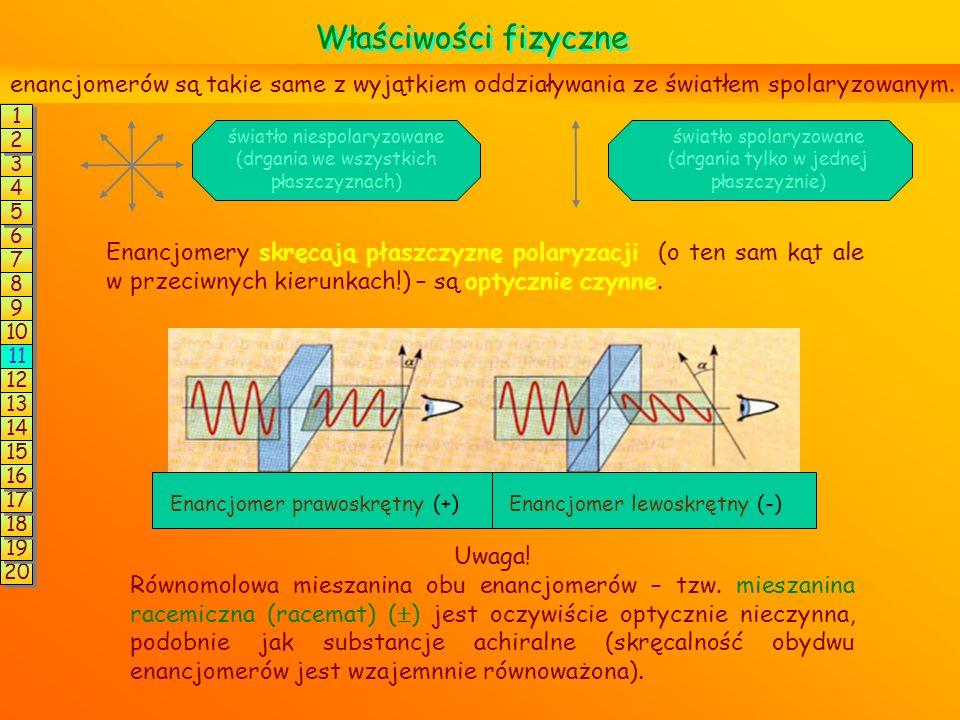 Para izomerów optycznych (enancjomerów) różni się konfiguracją (czyli rozmieszczeniem podstawników) wokół każdego atomu C* np.: Aby zmienić konfigurac