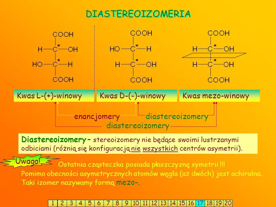 Konfiguracja D i L. CHO CH 2 OH HCHO CHOH CH 2 OH CHO HO H C CHO CH 2 OH C CHO HOH 2 C OH H aldehyd L-(-)-glicerynowy (łac. laevus – lewy; grupa –OH p