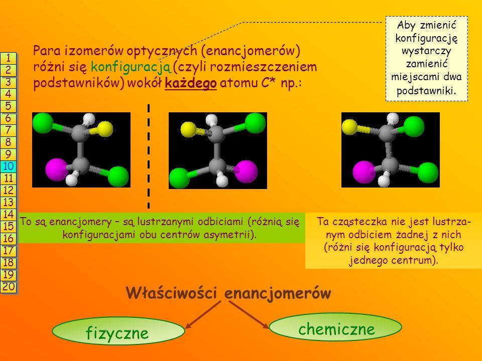 Para izomerów optycznych (enancjomerów) różni się konfiguracją (czyli rozmieszczeniem podstawników) wokół każdego atomu C* np.: Aby zmienić konfigurację wystarczy zamienić miejscami dwa podstawniki.