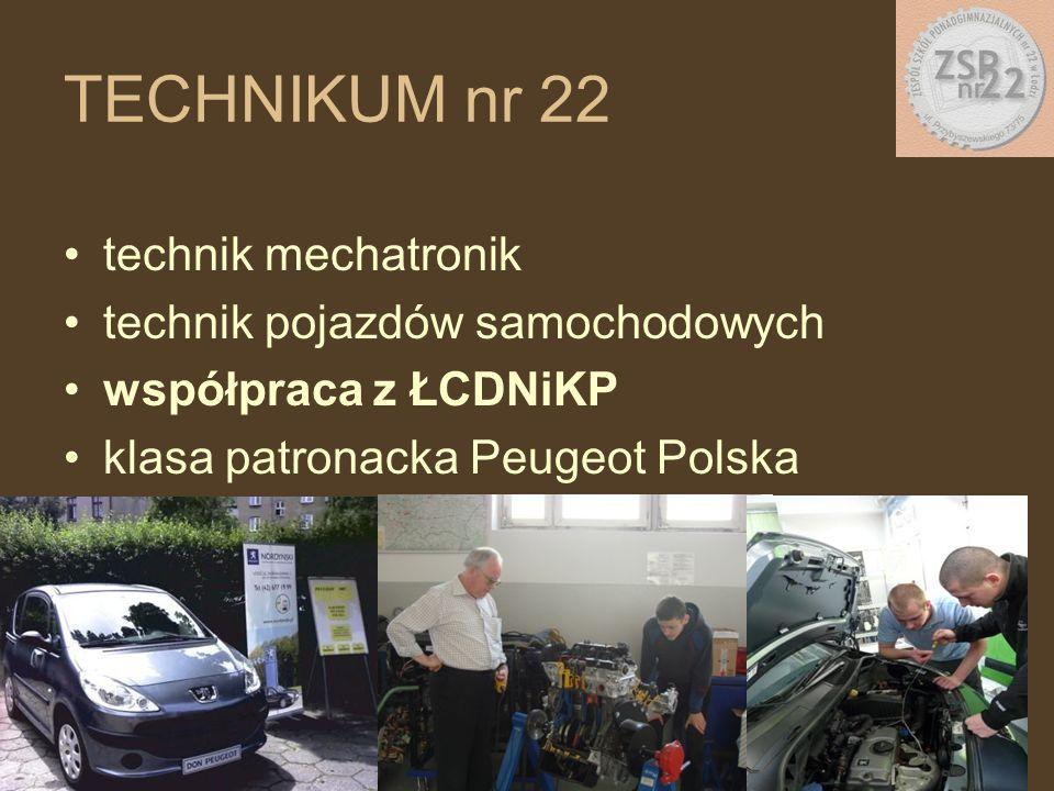 technik mechatronik technik pojazdów samochodowych współpraca z ŁCDNiKP klasa patronacka Peugeot Polska TECHNIKUM nr 22