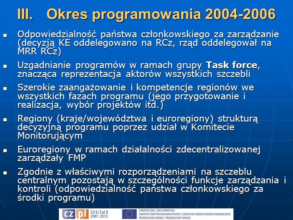 Przygotowanie programu ponownie na zasadzie partnerstwa w ramach grupy Task force (jej prace kierowane przez przedstawicieli obu państw członkowskich) Przygotowanie programu ponownie na zasadzie partnerstwa w ramach grupy Task force (jej prace kierowane przez przedstawicieli obu państw członkowskich) Struktura wdrażająca pozostaje w zasadzie zachowana Struktura wdrażająca pozostaje w zasadzie zachowana Pomimo odmiennego stanowiska KE udało się wynegocjować zachowanie istotnych kompetencji na szczeblu regionalnym (w szczególności udział w ocenie i wyborze projektów) Pomimo odmiennego stanowiska KE udało się wynegocjować zachowanie istotnych kompetencji na szczeblu regionalnym (w szczególności udział w ocenie i wyborze projektów) Nadal pozostawiono i wzmocniono partnerstwo szczebla centralnego i regionalnego Nadal pozostawiono i wzmocniono partnerstwo szczebla centralnego i regionalnego Zarządzanie Funduszu Małych Projektów pozostaje w gestii euroregionów Zarządzanie Funduszu Małych Projektów pozostaje w gestii euroregionów IV.