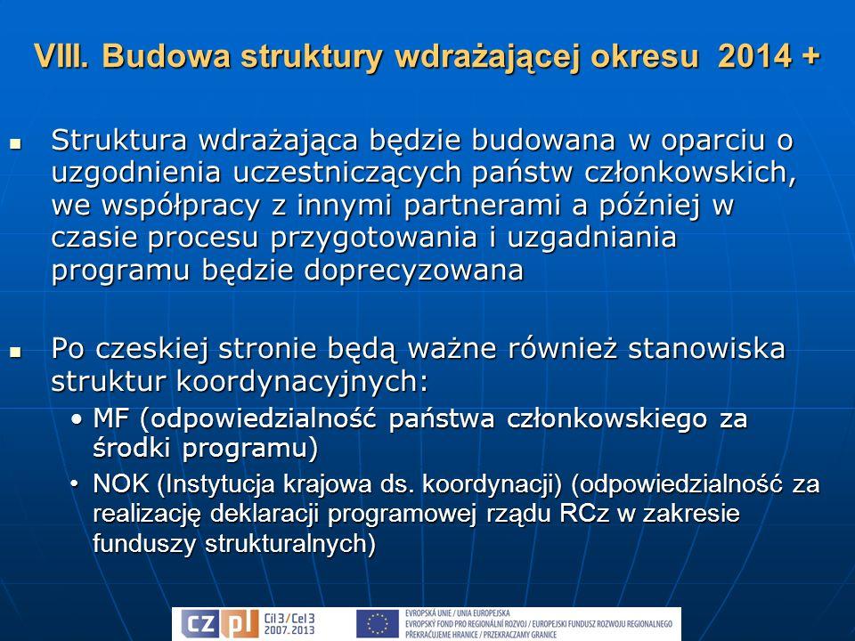 Struktura wdrażająca będzie budowana w oparciu o uzgodnienia uczestniczących państw członkowskich, we współpracy z innymi partnerami a później w czasie procesu przygotowania i uzgadniania programu będzie doprecyzowana Struktura wdrażająca będzie budowana w oparciu o uzgodnienia uczestniczących państw członkowskich, we współpracy z innymi partnerami a później w czasie procesu przygotowania i uzgadniania programu będzie doprecyzowana Po czeskiej stronie będą ważne również stanowiska struktur koordynacyjnych: Po czeskiej stronie będą ważne również stanowiska struktur koordynacyjnych: MF (odpowiedzialność państwa członkowskiego za środki programu)MF (odpowiedzialność państwa członkowskiego za środki programu) NOK (Instytucja krajowa ds.