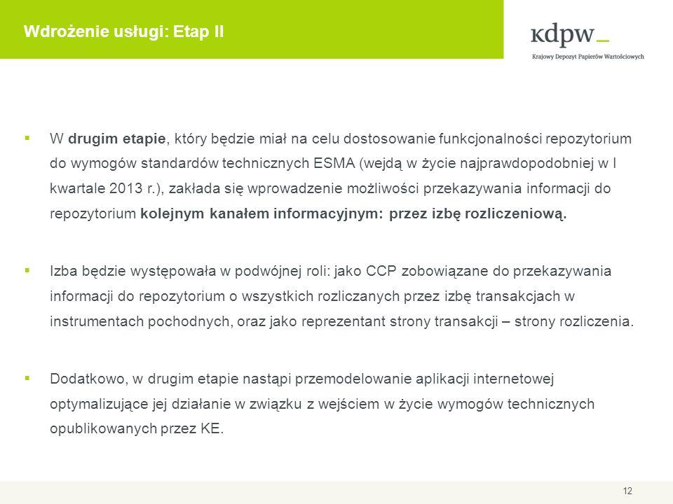 Wdrożenie usługi: Etap II  W drugim etapie, który będzie miał na celu dostosowanie funkcjonalności repozytorium do wymogów standardów technicznych ES