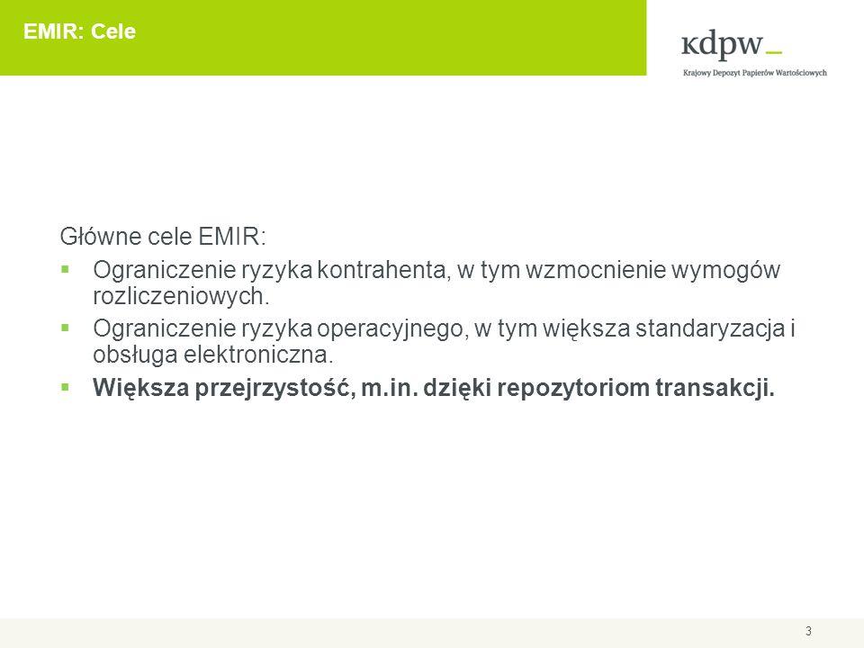 3 EMIR: Cele Główne cele EMIR:  Ograniczenie ryzyka kontrahenta, w tym wzmocnienie wymogów rozliczeniowych.  Ograniczenie ryzyka operacyjnego, w tym