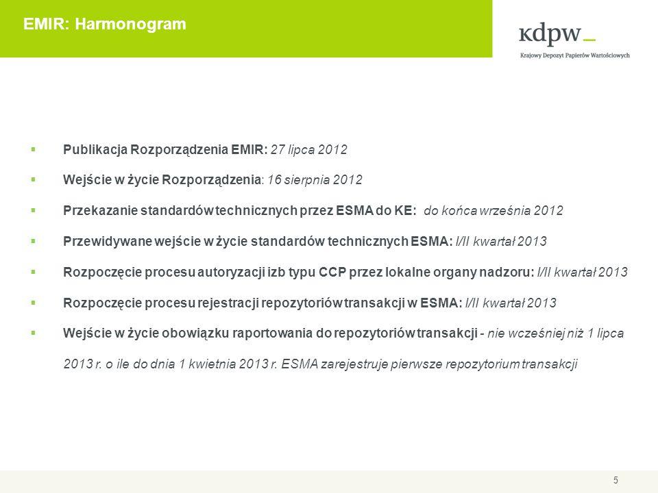 5 EMIR: Harmonogram  Publikacja Rozporządzenia EMIR: 27 lipca 2012  Wejście w życie Rozporządzenia: 16 sierpnia 2012  Przekazanie standardów techni