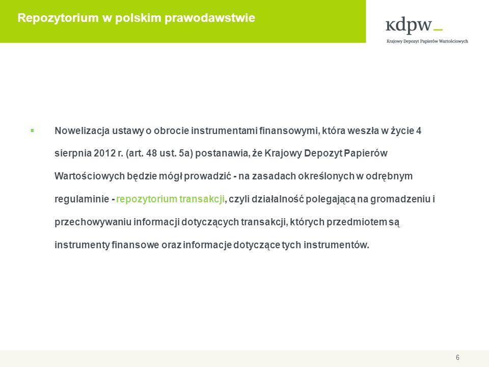 6 Repozytorium w polskim prawodawstwie  Nowelizacja ustawy o obrocie instrumentami finansowymi, która weszła w życie 4 sierpnia 2012 r. (art. 48 ust.