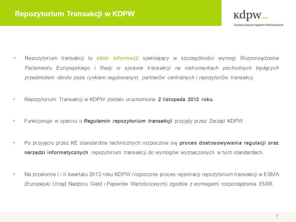 Repozytorium Transakcji w KDPW  Repozytorium transakcji to zbiór informacji spełniający w szczególności wymogi Rozporządzenia Parlamentu Europejskieg