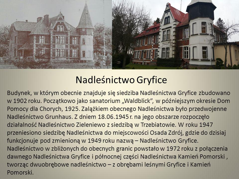 Nadleśnictwo Gryfice Budynek, w którym obecnie znajduje się siedziba Nadleśnictwa Gryfice zbudowano w 1902 roku.