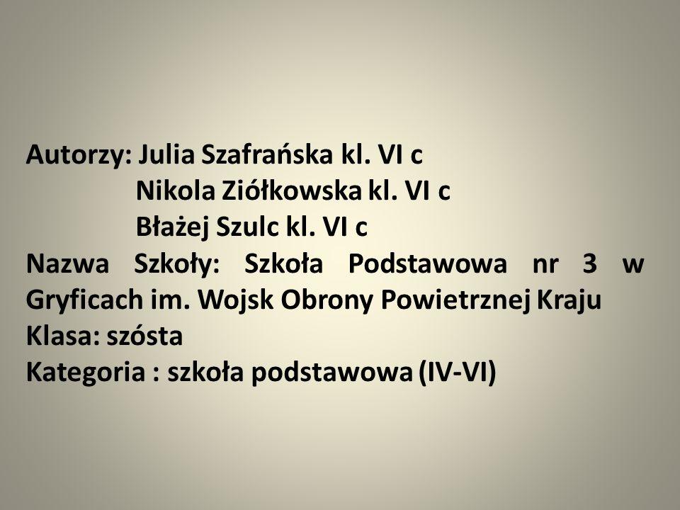 Autorzy: Julia Szafrańska kl. VI c Nikola Ziółkowska kl.