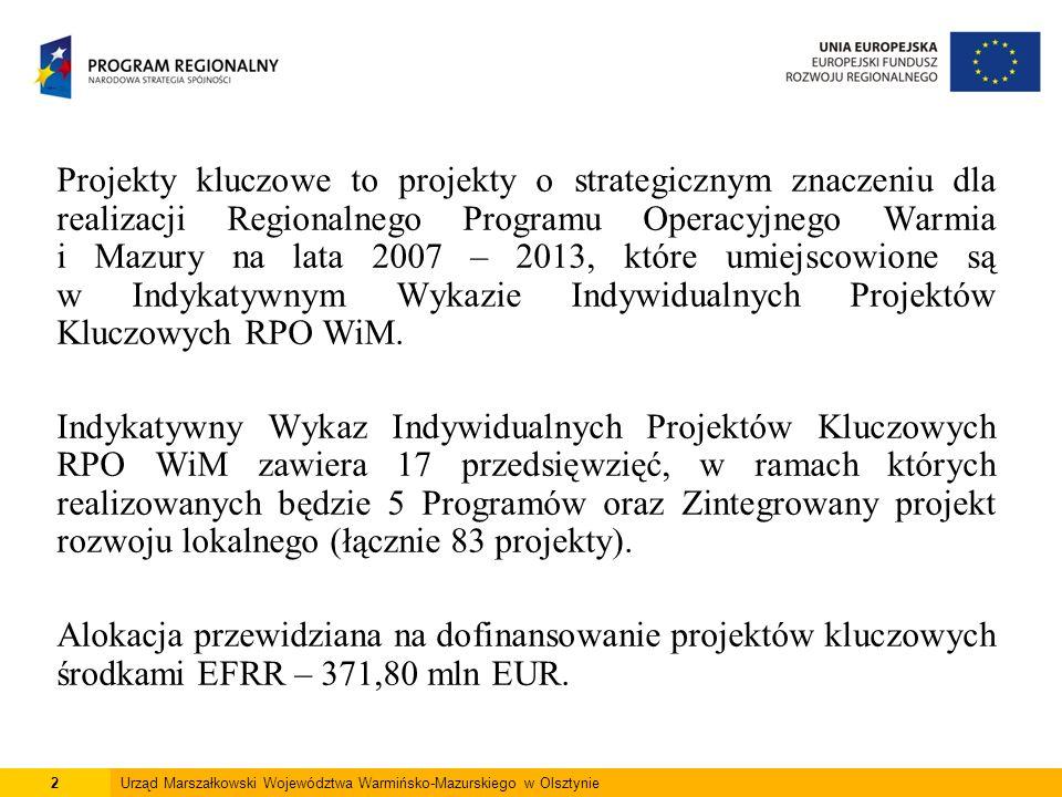 2 Projekty kluczowe to projekty o strategicznym znaczeniu dla realizacji Regionalnego Programu Operacyjnego Warmia i Mazury na lata 2007 – 2013, które umiejscowione są w Indykatywnym Wykazie Indywidualnych Projektów Kluczowych RPO WiM.