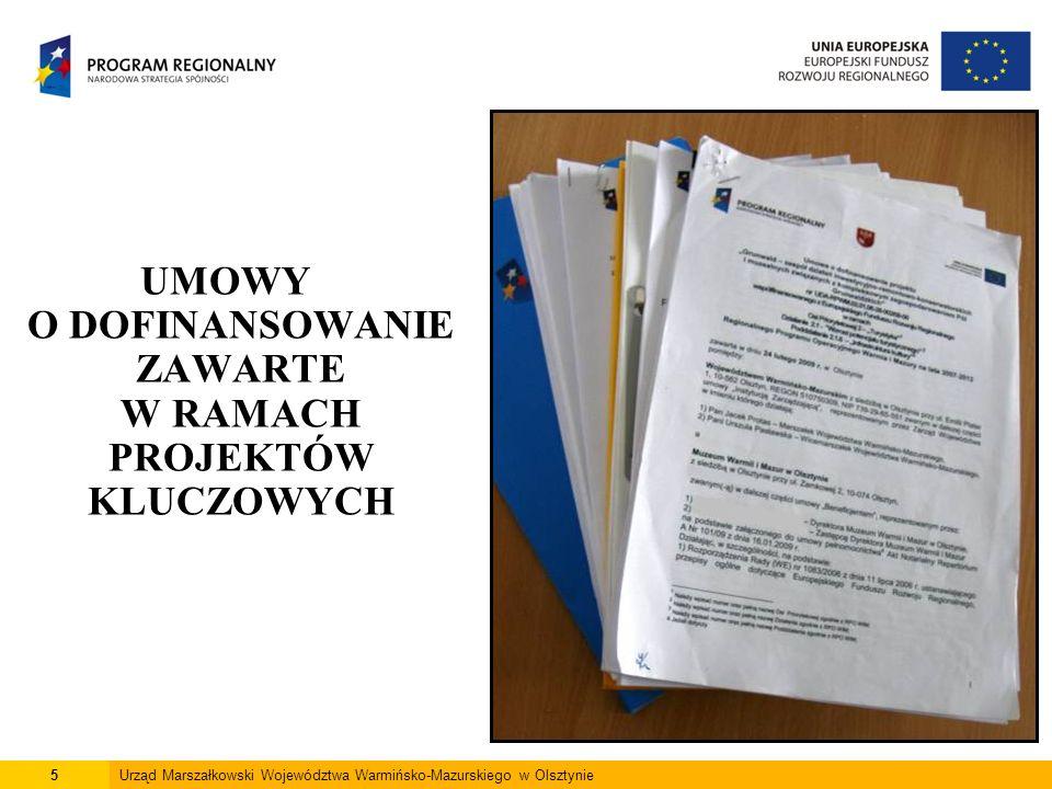 5Urząd Marszałkowski Województwa Warmińsko-Mazurskiego w Olsztynie UMOWY O DOFINANSOWANIE ZAWARTE W RAMACH PROJEKTÓW KLUCZOWYCH